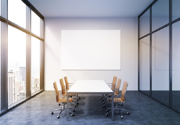 Meeting room, with a rectangle white table and 6 chairs
